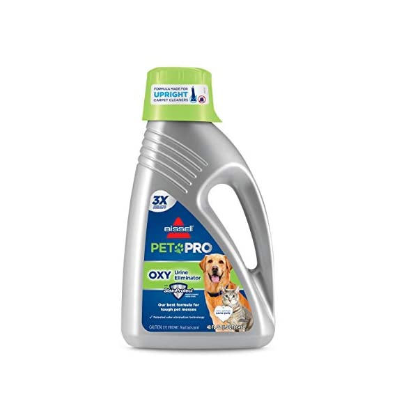 Bissell Professional Pet Urine Eliminator + Oxy Carpet Cleaning Formula, 48 oz, 1990 1 2X Concentrated formula for use in all Upright Carpet Cleaning Machines Removes pet stains and odors at the source with the power of Oxy and Febreze Freshness Formulated to penetrate and loosen set-in pet stains like urine, feces, blood and vomit