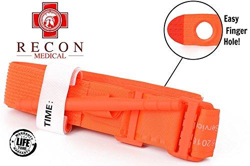 Recon Medical ORNGTQTourniquet – (ORANGE) Gen 3 Mil-Speckevlar Metal Windlass Aluminum First Aid Tactical Swat Medic Pre-Hospital - Tarjeta de registro para control de hemorragias (1 unidad)