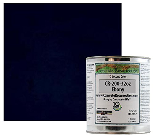 Professional Fast Drying Concrete Stain - Easy to use! Ten Second Color Acetone Dye Concrete Resurrection 32oz (Ebony)
