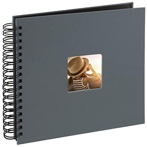Hama Fotos (50 páginas Negras, álbum con Espiral, 28 x 24 cm, Compartimento para Insertar Foto), Gris
