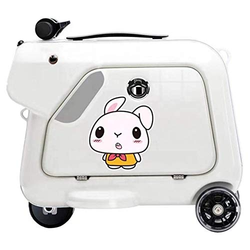 GOLDGOD Children's Electric Riding Box, Electric Suitcase Scooter Smart Riding Suitcase Student Trolley Boarding Suitcase for Weekend Getaways,White