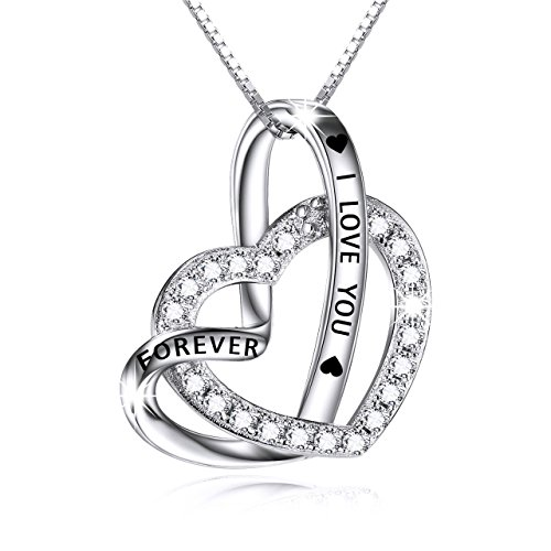Cuoka Sterling Silver Double Heart Necklace Engraved I Love You Forever Pendant Gift for Her CZ...