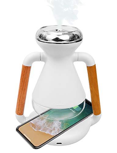 Aroma Diffuser mit Qi wireless charger, 230ml Ultra Leise Luftbefeuchter Ultraschall mit Kabelloses Ladegerät, BPA-Frei Öle Diffusor Aromatherapie für Wohnzimmer, Schlafzimmer, Kinderzimmer