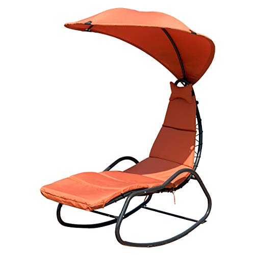 Giantex Chaise Lounge Swing, Outdoor Arc Stand Porch Swing Hammock Chair w/Wide Canopy Sun Shade, Soft Cushion Removable Headres for Garden Backyard Poolside, Update (Orange)