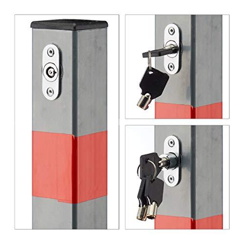 Relaxdays Absperrpfosten quadratisch H x B x T: 65x15x13 cm Sperre von Parkplatz oder Durchfahrt klappbarer Pfeiler mit 3 Schlüsseln für Schloss als Pfosten mit roten Warnstreifen, anthrazit - 3