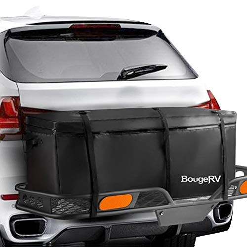 BougeRV Hitch Cargo Carrier Bag Waterproof/Rainproof Hitch Mount Cargo Bag for Car Truck SUV Vans Hitch Trays and Hitch Baskets (48'' L x 20'' W x 22'' H)