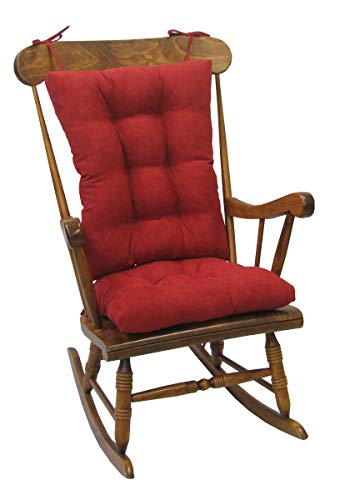 Klear Vu Twillo Overstuffed Rocking Chair Set, Seat and Seatback Cushions, 17' x 17', Red