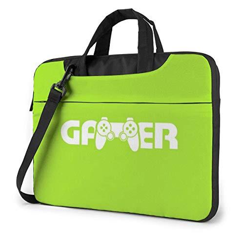 Green Button Gamer Laptop Shoulder Bag 15.6 Inch Laptop Messenger Case Laptop Sleeve Carrying Case with Strap