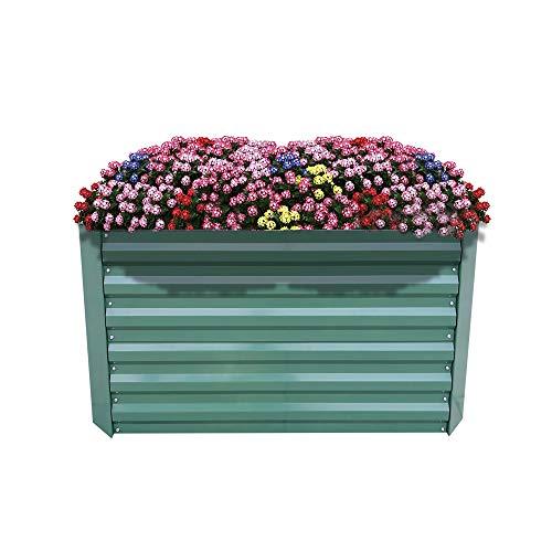 AUFUN Jardinera de Acero Galvanizado 120x60x60cm Verde bancal de Jardín Rectangular para...