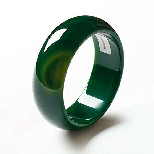 Olydmsky Armreif Armband Echte Jade Handgemacht, Natürlicher Schöne Smaragd grün Nephrit-Jade Armreif Armband Schmuck Geschenk 56-62mm