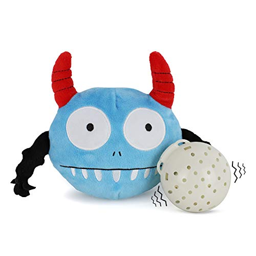Namsan Giggle Plush Dog Toy - Interactive Dog Toys Pet Squeaky Toy with Jumping Activation Ball for Dogs (Blue Monster)