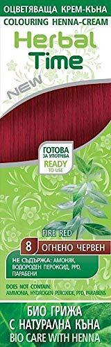 Crème colorante capillaire avec du Henné et l'extrait d'ortie - Couleur Rouge Brûlant 8, Sans Ammoniaque, Sans Sulfate, Sans Parabens