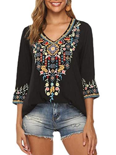 H&E blusa de mujer con bordado mexicano bohemio Negro Negro ( XXL