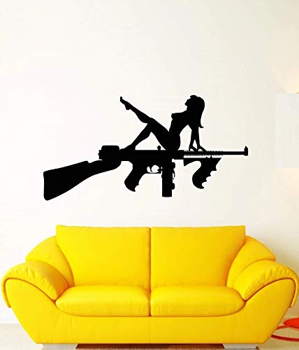Vinilo pared pistola Sexy chica desnuda pegatina arma pistola pared decoración del hogar