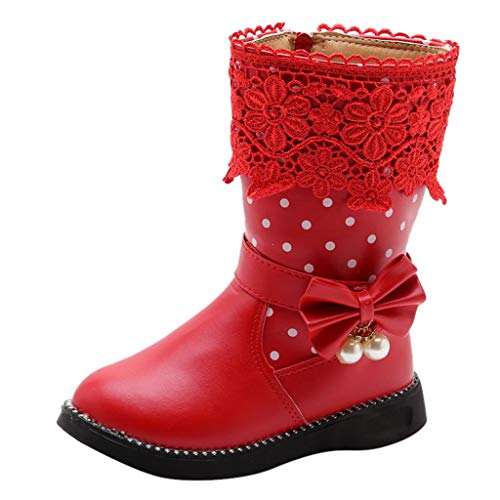 Baby Girls Boots Fashion Butterfly Knot Polka Dot Printed Side Zipper Lace Pearl Princess Shoes Winter Warm PU High Boots for Toddler Little Kid Big Kid (Size:27(Recommended Age:4-4.5Years), Red)