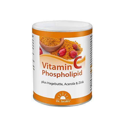 Dr. Jacob's Vitamin C Phospholipid Dose 150 g I für Immunsystem, Gelenke, Nervensystem I mit Phospholipiden, Zink, Acerolakirsche und Hagebutte I guter Geschmack – ideal auch für Kinder I 88 Portionen