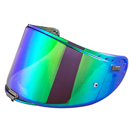 LS2 FF327 Integralhelm Helmschild Anti-Scratch Ersatzvisier Trasparent Schwarz Chrom Silber Farbe Anti Nebel Helmvisiere (chrome green)