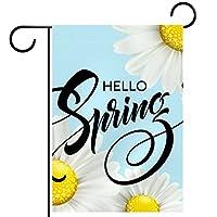 庭の旗、庭の装飾屋外看板吊り飾り、開花デイジー 、テラス鉢植えデッキ用12x18インチ