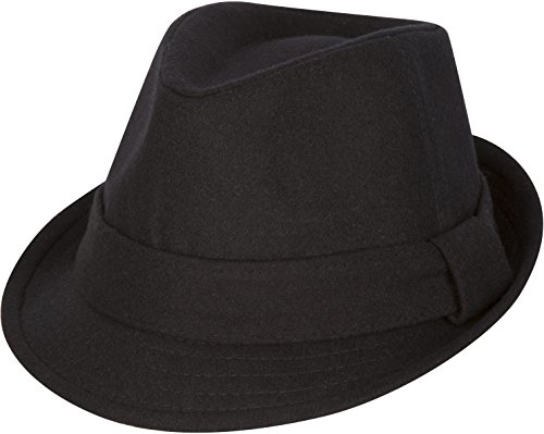 Sakkas F1218 Original Unisex Structured Wool Fedora Hat - Black - L/XL