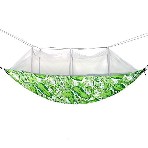 Camping Hammock with Mesh Hanging Rope Swing Chair Double Spreader Bar Heavy Cotton Fabric Adjustable Hooks for Backpacking Hiking Travel Outdoor,Green
