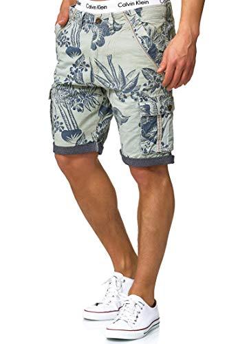 Indicode Herren Albert Cargo Shorts Hawaii mit 6 Taschen aus 100{bf263302845db6a068a440ea19d52fa057da6a43c113e8f5680f8bda86aaf328} Baumwolle | Kurze Hose Regular Fit Bermuda Cargoshorts Herrenshorts Short Men Pants Cargohose kurz für Männer Surf Spray L