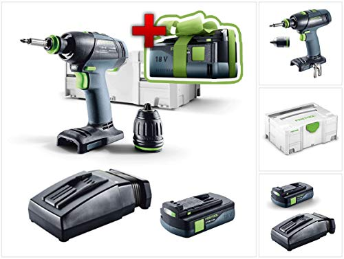 Nu met gratis accu: Festool T 18 + 3 Li-Basic accuboormachine in Systainer + 1 x BP 18 Li 3,1 Ah accupack + 1 x TCL 6 snellader.