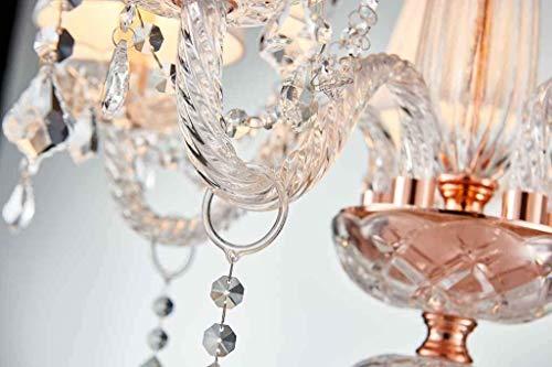 Saint Mossi Moderne Kristallglas Kronleuchter Beleuchtung Deckenleuchter Lampe 5 Arme mit E14 Sockel Rose Gold Finish Stoffschirme - 6