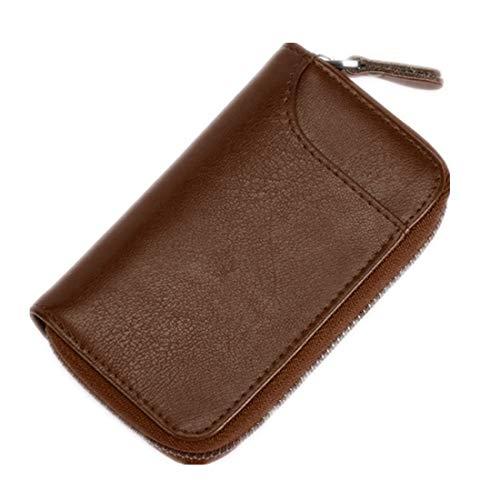 Large Zipper Leather Car Key Case by BAKUN, Key Holder Key Organizer Wallet, with 16 Hooks (L, Light Brown)