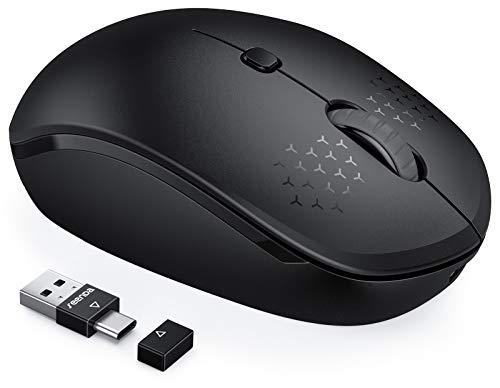 seenda Wiederaufladbare Bluetooth Maus (Dual Bluetooth4.0+2,4GHz), Leise Kabellose Funkmaus, Multi-Device Maus Bluetooth für Laptop/PC/Smart TV/Mac/Smartphone/Tablet/iPad/Android - Schwarz