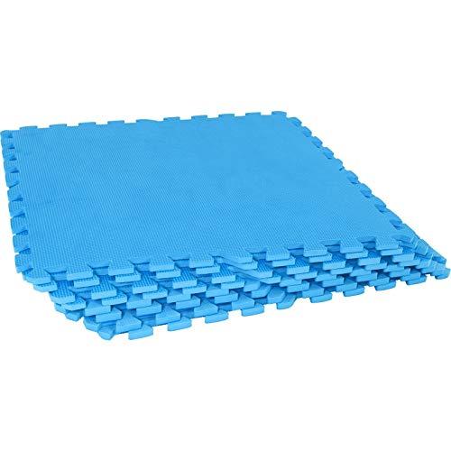 GORILLA SPORTS Schutzmatten-Set 8 Puzzle-/Sport-Matten 60 x 60 cm, Bodenschutz in Blau