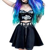 Women High Waist Hollow Iron Ring Zipper Dark Gothic Punk A-line Mini Skirt (Small)