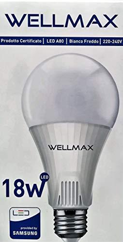 WELLMAX - BOMBILLAS LED 18W - E27-1700 Lumen - 6500K ° Luz fría...