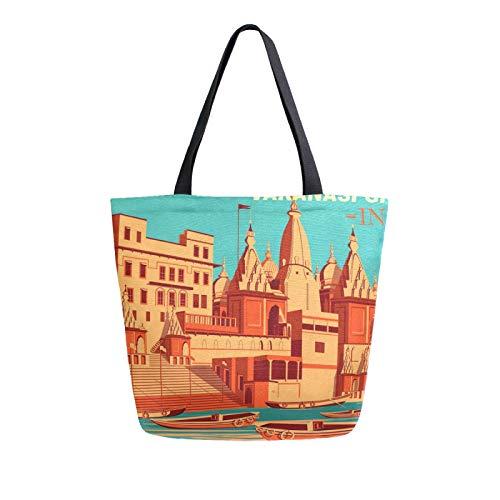 RURUTONG Varanasi Ghats India Canvas Tote Bag Großpackung für Lebensmittel, große Schultertasche, Strandtasche, wiederverwendbare Handtasche, Mehrzweck, strapazierfähig, Einkaufen für Outdoor 2010732