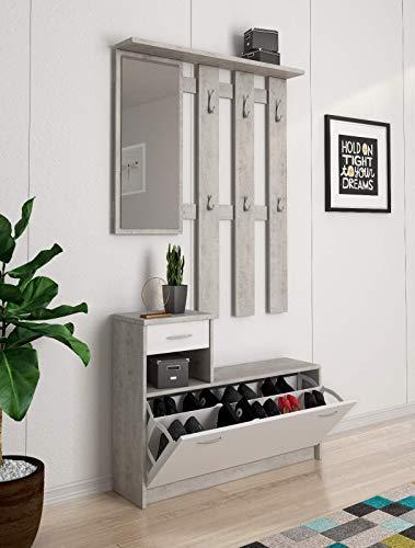 Mobile Belem Mobiletto da Ingresso con Scarpiera Appendiabiti e Specchio Arredo Arredamento Corridoio Entratina 97 x 35 x 25 cm (Bianco e Grigio Cemento)