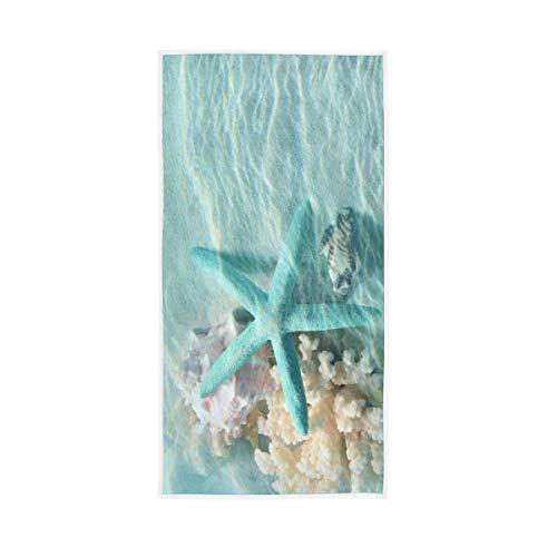Seashell Starfish Hand Towels Ocean Coastal Decorative Towel for Bathroom Kitchen Gym Soft Absorbent Washcloths Housewarming Gifts 15x30Inch