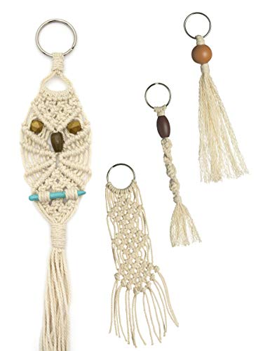 Cousin DIY for The Love Kit with Cord, Beads, and Key Rings Make Your Own Macrame Keychains, Natural