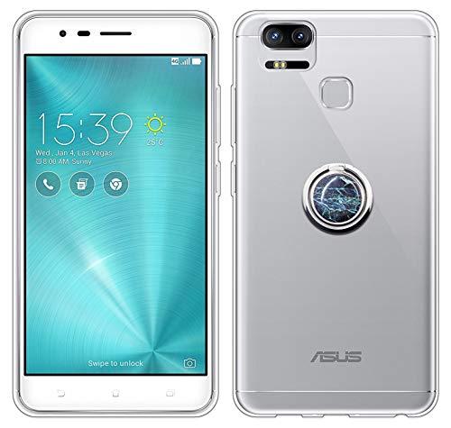 Sunrive Für Asus ZenFone Zoom S ZE553KL 5,5 Zoll Hülle Silikon, Transparent Handyhülle 360°drehbarer Ständer Ring Fingerhalter Fingerhalterung Schutzhülle Etui Hülle(Blauer Marmor) MEHRWEG