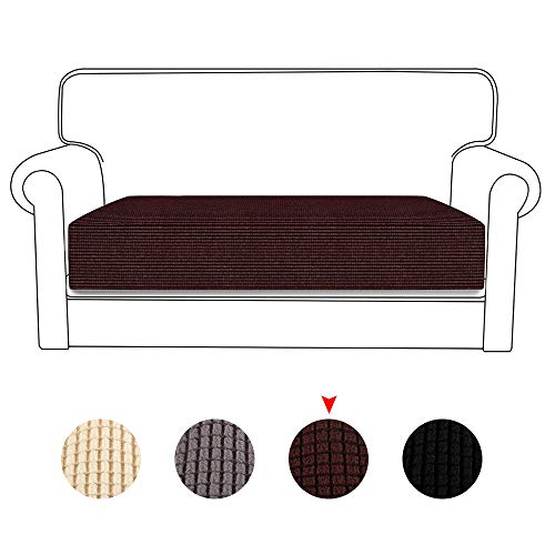 1/2/3 Seat Stretch Couch Cushion Slipcovers Reversible Cushion Protector Slipcovers Sofa Cushion Protector Covers (Brown, 2 Seat)
