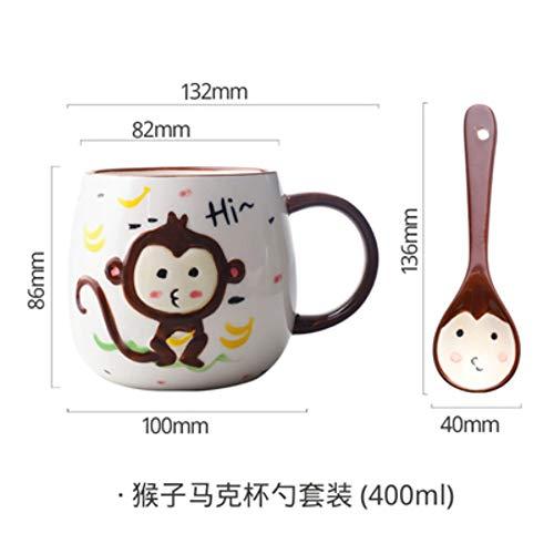 LOYWT Tasse de porcelaine de bande dessinée en porcelaine Cartoon cuillère Set eau tasse petit déjeuner tasse de lait tasse à café, un