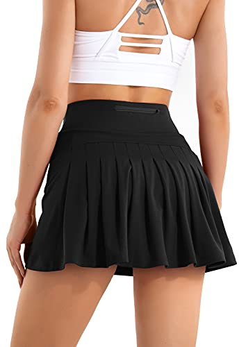 Pleated Tennis Skirts for Women with Pockets High Waisted Golf Skirt Sport Athletic Running 2 in 1 Shorts Skirt Activewear Black