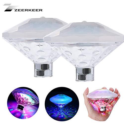 Zeerkeer Diamant nachtlampje met RGB Glow LED, waterdicht, zwembad, zwembad, zwembad, zwembad, spa, badkamer met 7 patronen (2 stuks)