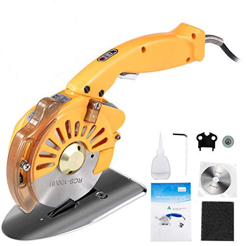 VEVOR Fabric Cutter 100mm Rotary Fabric Cutter 27mm Cutting Height Electric Rotary Cutter Orange All-Copper Motor with Low Noise Adjustable Speed Electric Scissors for Cutting Fabric and Cotton