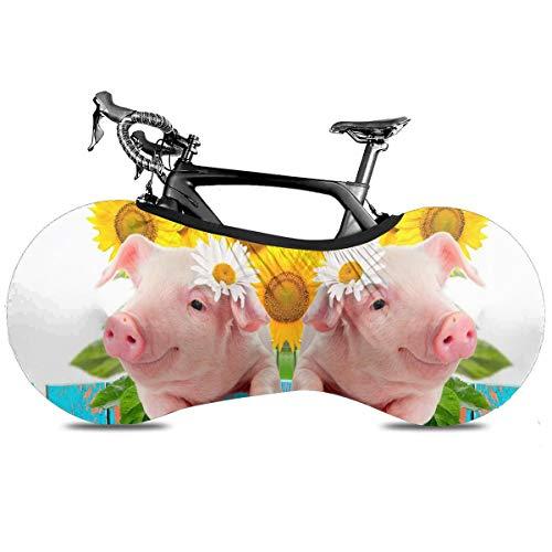 Clover St Patricks Say Cubierta de bicicleta portátil para interior antipolvo, alta elasticidad, cubierta protectora para rueda de bicicleta Rip Stop Neumático Carretera MTB Bolsa de almacenamiento, Cerdito Divertido Con Flores, talla única