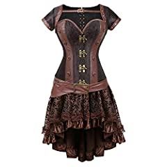 Primarily use jacquard fabrics, metal and faux leather to create a retro punk-themed female knight. Jacquard fabrics have a soft and delicate unique texture, good gloss and breathable. Spiral steel boned steampunk corset, a helpful corset gives a sli...
