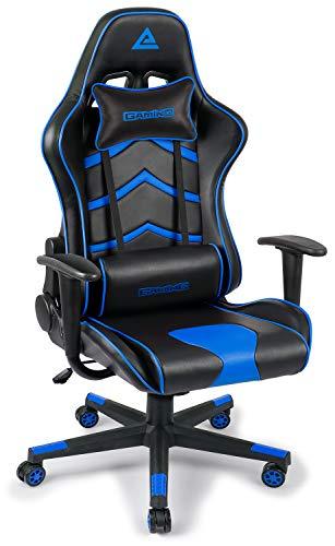 Leader Accessories Gaming Stuhl 360° Drehstuhl verstellbare hohe Rückenlehne stufenlose Sitzhöheneinstellung abnehmbare Kissen Schwarz/Blau