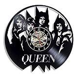 wtnhz LED-Queen Rock Band Reloj de Pared Diseño Moderno Tema Musical Disco de Vinilo clásico Reloj de Pared Artista Decoración del hogar Regalos para músicos