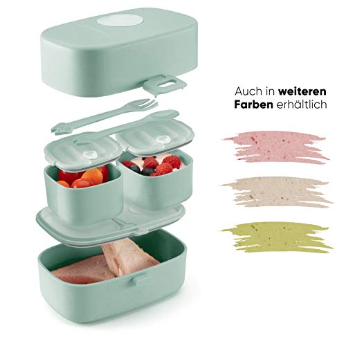 Ecolina ♻ Nachhaltige Lunchbox für Kinder - 3 integrierte praktische Dosen - Extra kinderfreundliche Bento Box - Perfekt für Unterwegs (Blau)
