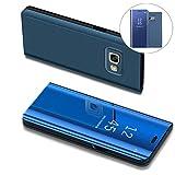 COTDINFOR Samsung J7 Prime Hülle Ledertasche Handyhülle Slim Clear Crystal Spiegel Flip Ständer Etui Hüllen Schutzhüllen für Samsung Galaxy On7 2016 / J7 Prime SM-G610 Mirror PU Blue MX.