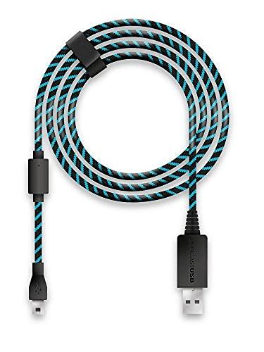 Lioncast Cavo Ricarica Controller per Xbox One e PS4, Copertura in Tessuto e con Chiusura in Velcro, Micro USB 2.0; 1 x 4 Metri – Blu e Nero