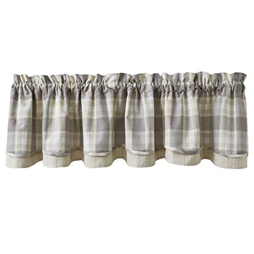 Park Designs Weathered Oak Plaid Lined Layered Valance 72'' x 16''